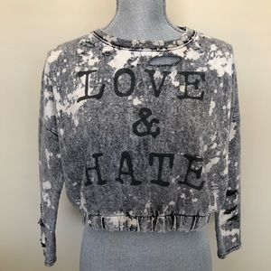 Love & Hate Upcycled Cropped Bleached Sweatshirt